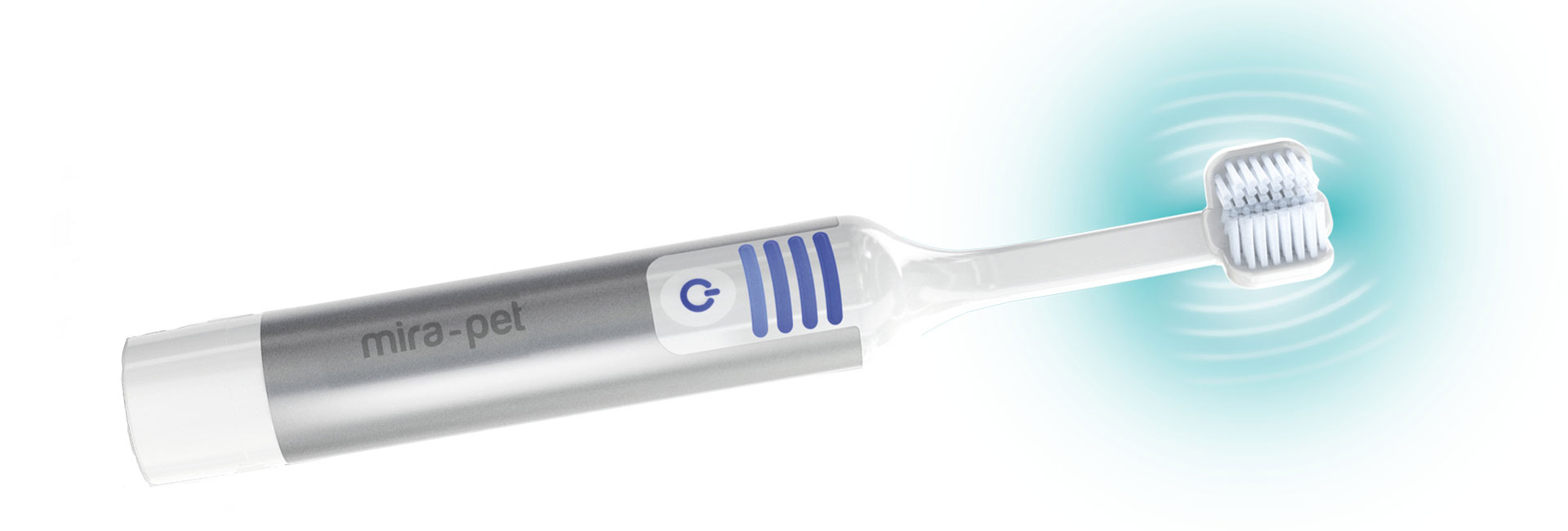 Mira-Pet Ultrasound Toothbrush for dogs, showing the whole toothbrush with ultrasound oscillations
