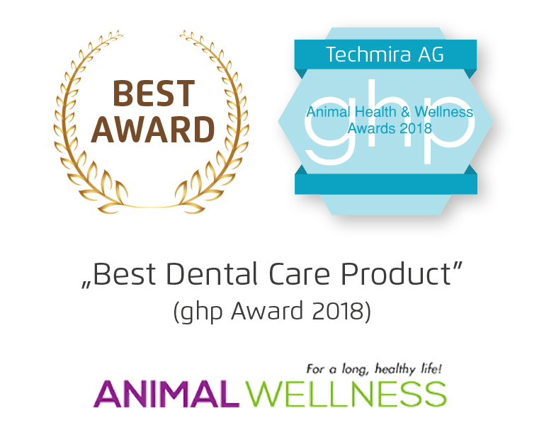 Best Dental Care Product Award for Mira-Pet Ultrasound Toothbrush for Dogs plus Animal Wellness Award